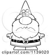 Cartoon Clipart Of A Sad Gnome Vector Outlined Coloring Page by Cory Thoman