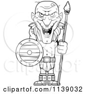 Cartoon Clipart Of A Black And White Tall Goblin Guard With A Spear And Shield Vector Outlined Coloring Page