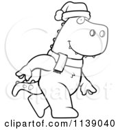 Cartoon Clipart Of A Black And White Walking Christmas T Rex Vector Outlined Coloring Page