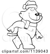 Cartoon Clipart Of A Black And White Walking Christmas Cat Vector Outlined Coloring Page