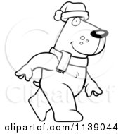 Cartoon Clipart Of A Black And White Walking Christmas Dog Vector Outlined Coloring Page