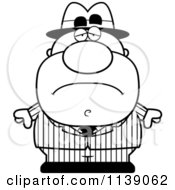 Cartoon Clipart Of A Black And White Sad Mobster Vector Outlined Coloring Page by Cory Thoman