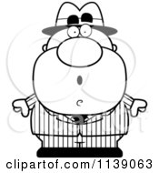 Cartoon Clipart Of A Black And White Shocked Mobster Vector Outlined Coloring Page by Cory Thoman
