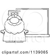 Cartoon Clipart Of A Black And White Professor Standing By A Chalkboard Vector Outlined Coloring Page by Cory Thoman