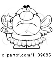 Cartoon Clipart Of A Black And White Mad Male Tooth Fairy Vector Outlined Coloring Page