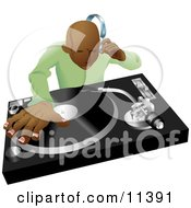 African American DJ Mixing His Records And Listening Through Headphones Clipart Illustration