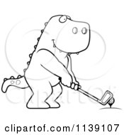 Cartoon Clipart Of A Black And White Golfing T Rex Holding The Club Against The Ball On The Tee Vector Outlined Coloring Page by Cory Thoman