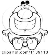 Cartoon Clipart Of A Black And White Sitting Bald Man In Underwear Vector Outlined Coloring Page by Cory Thoman