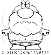 Cartoon Clipart Of A Black And White Mad Senior Bald Man In Underwear Vector Outlined Coloring Page by Cory Thoman