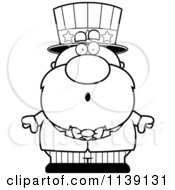 Cartoon Clipart Of A Black And White Shocked Uncle Sam Vector Outlined Coloring Page