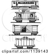 Clipart Of Black And White Woodcut Train Cars Royalty Free Vector Illustration