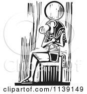 Black And White Egyptian Osiris Sitting Woodcut