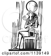 Clipart Of A Black And White Egyptian Osiris Sitting Woodcut Royalty Free Vector Illustration