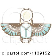 Clipart Of An Egyptian Scarab Woodcut Royalty Free Vector Illustration