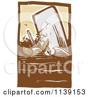 Clipart Of A Scrimshaw Of A Whale Attacking A Boat Woodcut - Royalty Free Vector Illustration by xunantunich #COLLC1139153-0119