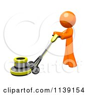 Clipart Of A 3d Orange Man Buffing A Floor 2 Royalty Free CGI Illustration