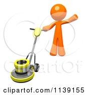 Poster, Art Print Of 3d Orange Man Buffing A Floor 3