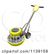 Clipart Of A 3d Yellow Floor Polisher Burnisher Buffer 1 Royalty Free CGI Illustration by Leo Blanchette