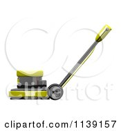 Clipart Of A 3d Yellow Floor Polisher Burnisher Buffer 2 Royalty Free CGI Illustration by Leo Blanchette