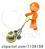 Clipart Of A 3d Orange Man Buffing A Floor 4 Royalty Free CGI Illustration