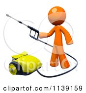 Clipart Of A 3d Orange Man Operating A Pressure Washer 1 Royalty Free CGI Illustration