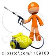 Poster, Art Print Of 3d Orange Man Operating A Pressure Washer 2