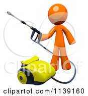 Clipart Of A 3d Orange Man Operating A Pressure Washer 2 Royalty Free CGI Illustration