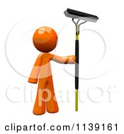 Clipart Of A 3d Orange Man Window Cleaner Royalty Free CGI Illustration by Leo Blanchette