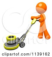 Clipart Of A 3d Orange Man Buffing A Floor 1 Royalty Free CGI Illustration