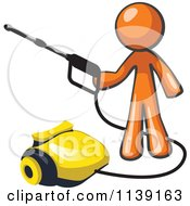 Clipart Of A Orange Man Operating A Pressure Washer Royalty Free Vector Illustration