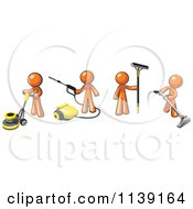 Clipart Of Orange Men Operating A Pressure Washer Floor Buffer Window Cleaner And Carpet Cleaner Royalty Free Vector Illustration