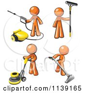 Clipart Of Orange Janitor Men Operating A Pressure Washer Floor Buffer Window And Carpet Cleaner Royalty Free Vector Illustration
