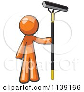 Clipart Of A Orange Man Window Cleaner Royalty Free Vector Illustration