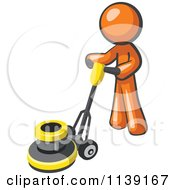 Clipart Of A Orange Man Buffing A Floor Royalty Free Vector Illustration