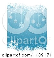 Clipart Of A Blue Snowflake And Christmas Bauble Background Royalty Free Vector Illustration by KJ Pargeter