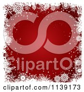 Clipart Of A Red And White Christmas Grunge Background Royalty Free Vector Illustration