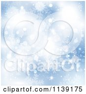 Clipart Of A Blue Blur Snowflake And Bokeh Background Royalty Free Vector Illustration by KJ Pargeter