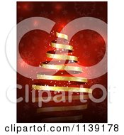 Clipart Of A Magical Gold Ribbon Christmas Tree Over Red Snowflakes Royalty Free Vector Illustration by KJ Pargeter