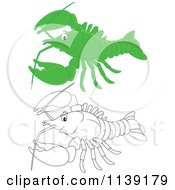 Cartoon Of A Cute Green And Black And White Lobster Royalty Free Vector Clipart by Alex Bannykh