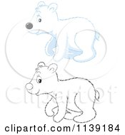 Cartoon Of A Cute Colored And Black And White Polar Bear Cub Royalty Free Vector Clipart by Alex Bannykh
