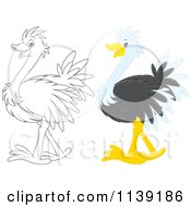 Cartoon Of A Cute Colored And Black And White Baby Ostrich Royalty Free Vector Clipart by Alex Bannykh