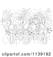 Cartoon Of An Outlined Santa And Reindeer Sleigh Royalty Free Vector Clipart