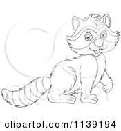 Cartoon Of A Cute Black And White Raccoon Royalty Free Vector Clipart by Alex Bannykh