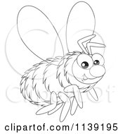 Cartoon Of A Cute Black And White Bumble Bee Royalty Free Vector Clipart
