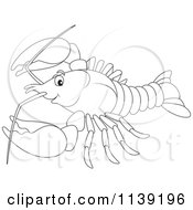 Cartoon Of A Cute Black And White Lobster Royalty Free Vector Clipart by Alex Bannykh