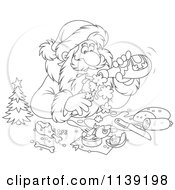 Cartoon Of An Outlined Santa Pouring Himself Champagne Over A Meal Royalty Free Vector Clipart