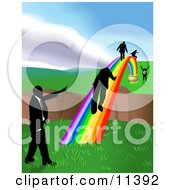 Men Walking On A Rainbow To Cross A Ravine Clipart Illustration by AtStockIllustration