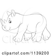 Cartoon Of A Cute Black And White Baby Rhino Royalty Free Vector Clipart by Alex Bannykh