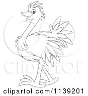 Cartoon Of A Cute Black And White Baby Ostrich Royalty Free Vector Clipart by Alex Bannykh