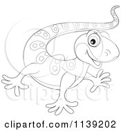 Cartoon Of A Cute Black And White Baby Gecko Royalty Free Vector Clipart by Alex Bannykh